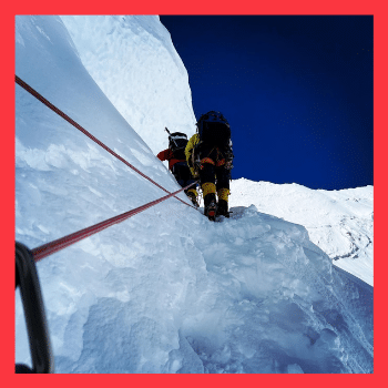 Mark Pattison in Kumba Ice Field as he prepares to climb Mt Everest
